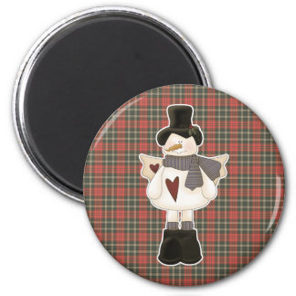 christmas angel snowman 2 inch round magnet