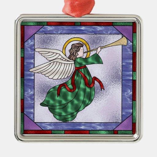 Christmas Angel Square Metal Christmas Ornament