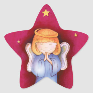 Christmas angel star red sticker