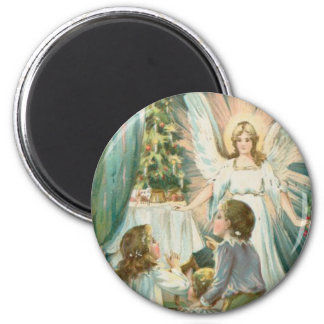 Christmas Angel with Children 2 Inch Round Magnet
