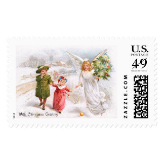 Christmas Angel with Children Postage