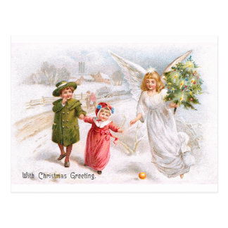 Christmas Angel with Children Postcard