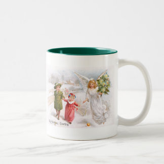 Christmas Angel with Children Two-Tone Coffee Mug