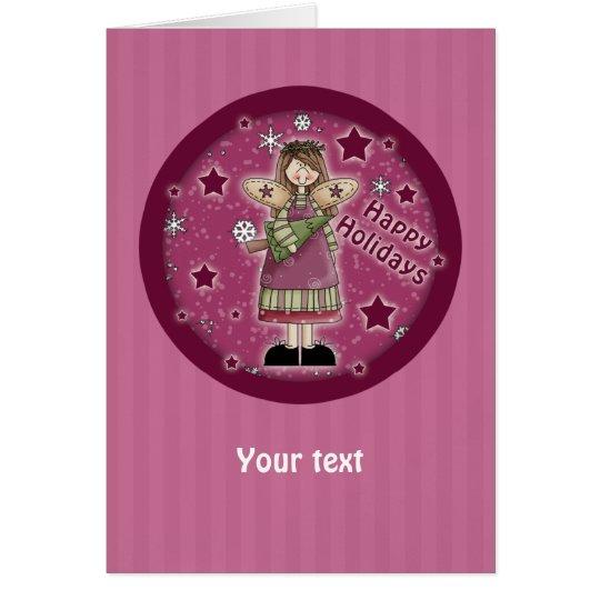 Christmas angel with Christmas tree Card
