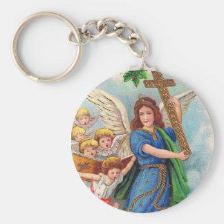 Christmas_angel_with_cross_1914.jpg Llavero Redondo Tipo Pin
