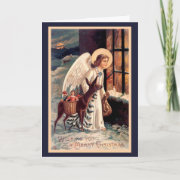 Christmas Angel With Deer Greeting Card