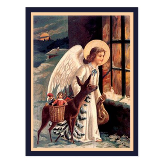 Christmas Angel With Deer Vintage Postcard