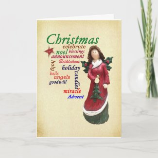 Christmas Angel Word Cloud Card