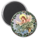CHRISTMAS ANGEL & WREATH by SHARON SHARPE 2 Inch Round Magnet