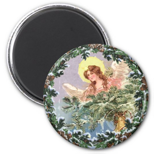 CHRISTMAS ANGEL & WREATH by SHARON SHARPE Magnet