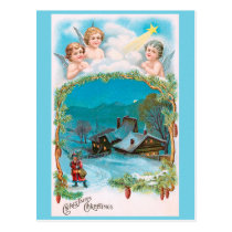 CHRISTMAS angels above snow covered village Postcard