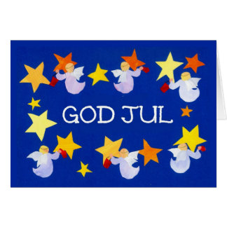 Christmas Angels and Stars with Swedish Greeting Card