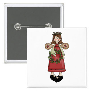 Christmas Angels · Angel & Wreath 2 Inch Square Button