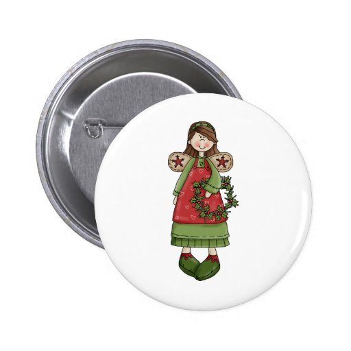 Christmas Angels · Angel & Wreath Pinback Buttons