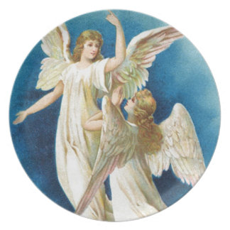 Christmas angels dinner plate
