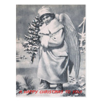 CHRISTMAS angels, greeting bottom border Postcard