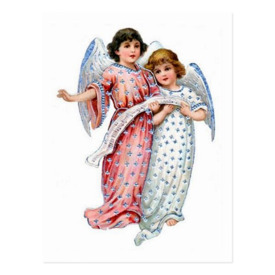 Christmas Angels In pink And Blue Postcard