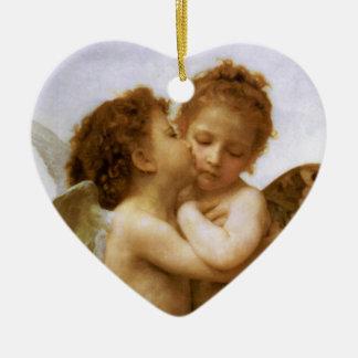 Christmas Angels Kiss, Bouguereau Double-Sided Heart Ceramic Christmas Ornament