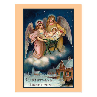 """Christmas Angels"" Nativity Scene Postcard"