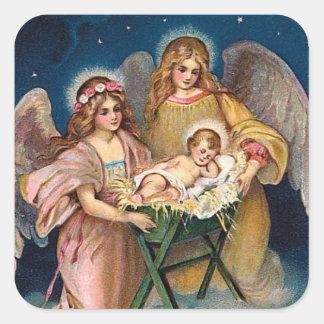 """Christmas Angels"" Nativity Scene Square Sticker"