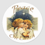 Christmas Angels-Peace on Earth Round Stickers