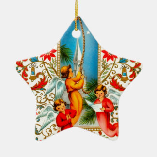 Christmas Angels Ringing Gold Bells Double-Sided Star Ceramic Christmas Ornament