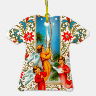 Christmas Angels Ringing Gold Bells Double-Sided T-Shirt Ceramic Christmas Ornament