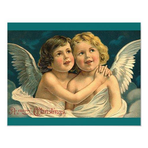 Christmas Angels - Vintage Art 4.25x5.5 Paper Invitation Card