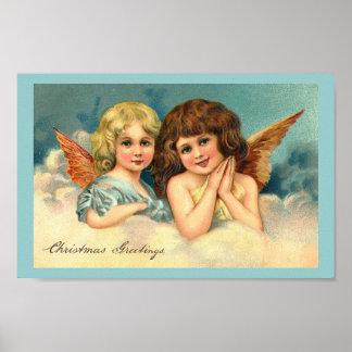 Christmas Angels - Vintage Art Poster