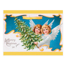 CHRISTMAS angels & Xmas tree Postcard