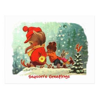 Christmas, Animal ski lessons Postcard