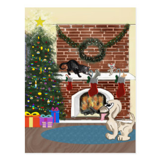 Christmas Animals Postcard