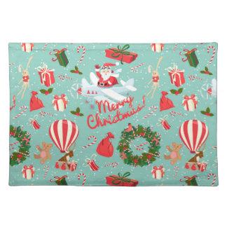 Christmas, animals, trees, red Tartan pattern Placemat