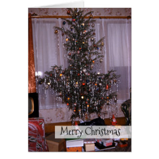 Christmas Antique Pine Tree with Tinsel and Gifts Card