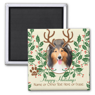 Christmas Antlers For Dog / Cat Personalize Photo 2 Inch Square Magnet