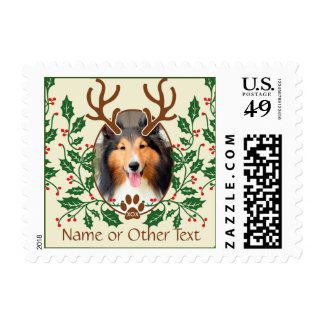 Christmas Antlers For Dog / Cat Personalize Photo Postage Stamps