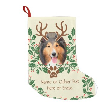 Christmas Themed Christmas Antlers For Dog / Cat Personalize Photo Small Christmas Stocking