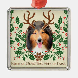 Christmas Antlers For Dog / Cat Personalize Photo Square Metal Christmas Ornament