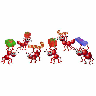 christmas ants standing photo sculpture
