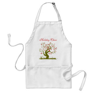 Christmas Apron Cute Birds Swirl Tree Muscial Note