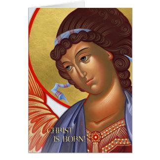 Christmas Archangel Card and nativity scene inside