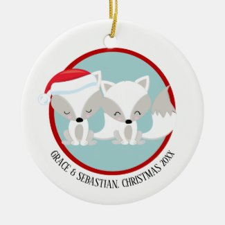Christmas Arctic Foxes Personalized Ceramic Ornament