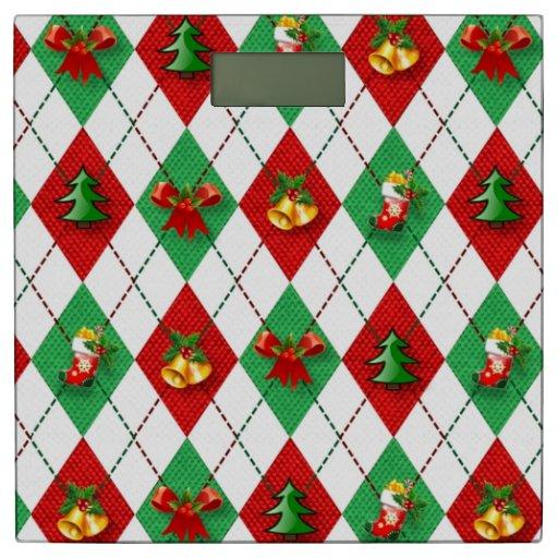 Christmas Argyle Bathroom Scale