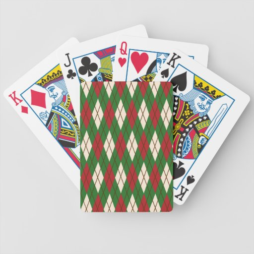 Christmas Argyle Bicycle Playing Cards