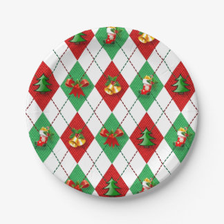 Christmas Argyle Decorated Paper Plate