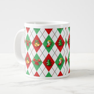 Christmas Argyle Giant Coffee Mug