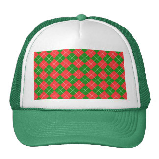 Christmas Argyle - Green, Red and White Trucker Hat