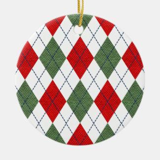 Christmas Argyle Ornament Round