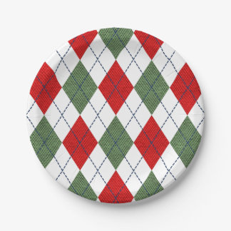 Christmas Argyle Paper Plate