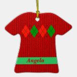 Christmas Argyle Sweater Shirt Ornament